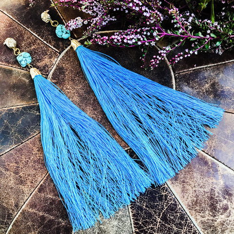 Extra long blue tassel earrings with turquoise nugget