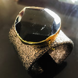 Distressed leather cuff with gold edged agate