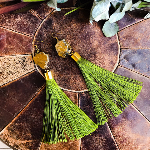 Gold nugget with green tassel earrings