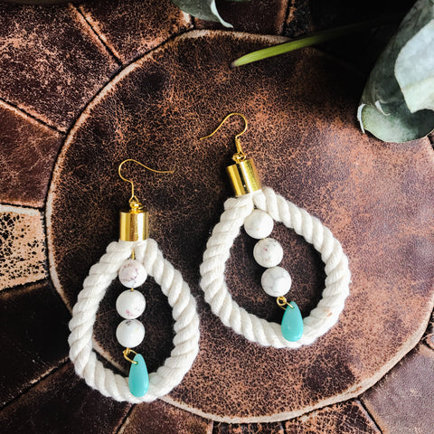 Rope earrings with howlite and vintage acrylic