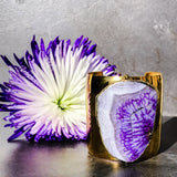 Gold plated cuff with huge gold edged agate stone