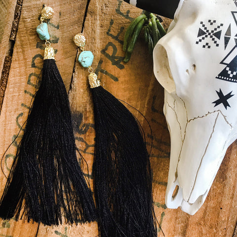 Extra long black tassel earrings with turquoise nugget