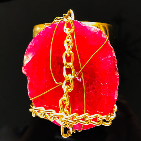 Gold plated cuff with chain wrapped pink slab agate