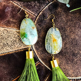 Green agate with green tassel earrings