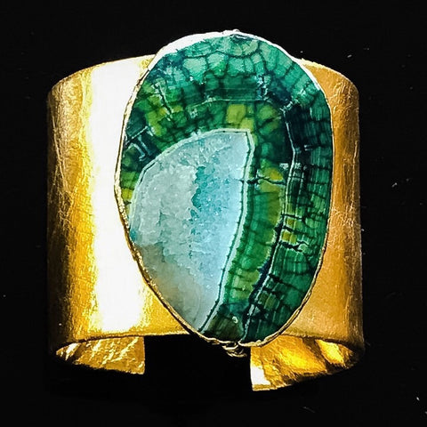 Gold leather cuff with gold edged green agate