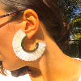 White Fringed hoop earrings