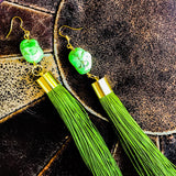 Green turquoise with green tassel earrings