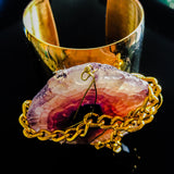 Gold plated cuff with chain wrapped purple slab agate
