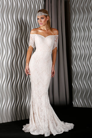 Lace Cap sleeve full Ivory lace gown by Jadore JX5054