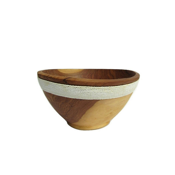 Beaded Olive Wood Bowl