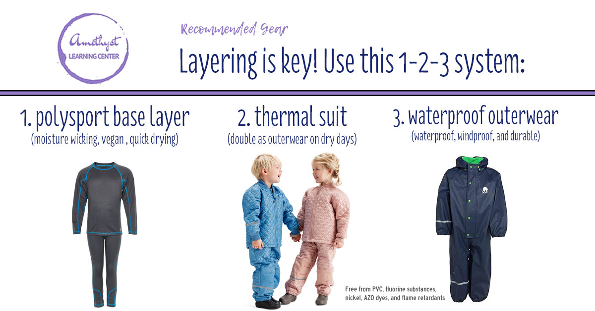 Amethyst Learning Center Recommended Gear for Layering for Outdoor Play