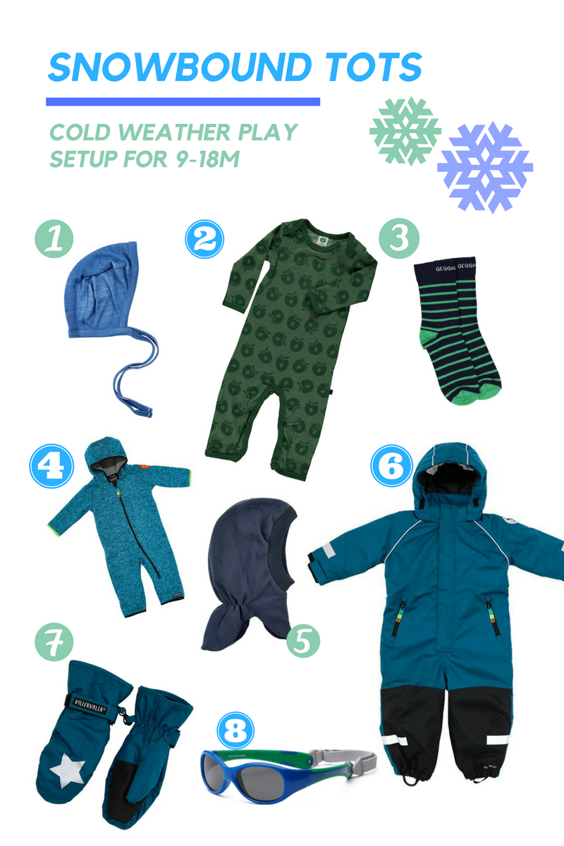 18m old 80cm snow play winter gear setup recommendations from Biddle and Bop