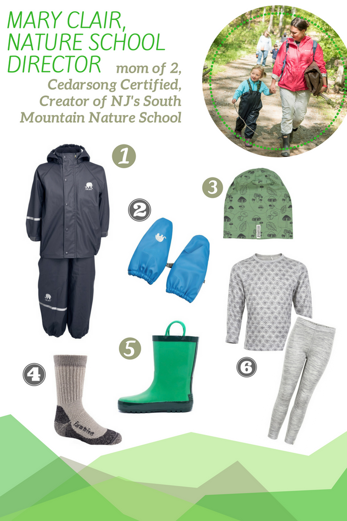 Recommended gear from Mary Clair Sonneman at South Mountain Nature school, NJ outdoor preschool.