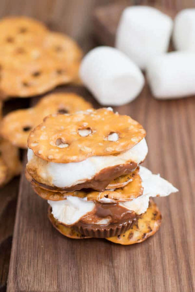 pretzel peanutbutter cup smores by ohsweetbasil.com