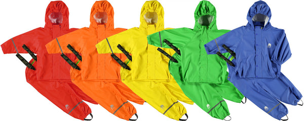 rainbow of raingear waterproof outdoor gear for children from US Biddle and Bop