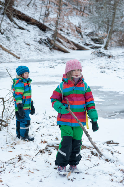 Kids at frozen river in villervalla winter gear from US biddleandbop.com