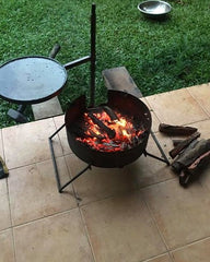 Folding Fire Pit with Swinging Hot Plate, Grill & Accessories