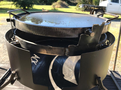 Folding Fire Pit with Hot Plate, Grill, Riser, Trivet & Hook