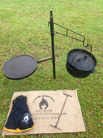 Hot Plate, Camp Oven Hook, Lid Lifter & Gloves