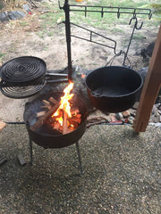 AUSSIE FIRE PIT with SWINGING HOT PLATE & GRILL with ACCESSORIES