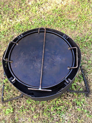 FOLDING FIRE PIT with DROP IN HOT PLATE, GRILL & HOOK