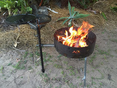 AUSSIE FIRE PIT SWINGING HOT PLATE AND GRILL