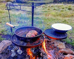 BBQ Hot Plate, Grill, Camp Oven Hook, Gloves and BBQ PAN