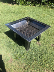 Backyard Fire Pit, Square Grill & Stabiliser