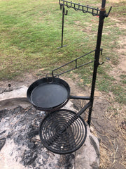 Swinging Grill, BBQ Pan with Cradle, Camp Oven Hook & Utensil Rack