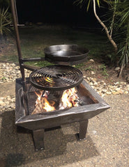 Backyard Fire Pit, Swinging Grill, BBQ PAN Cradle & BBQ PAN