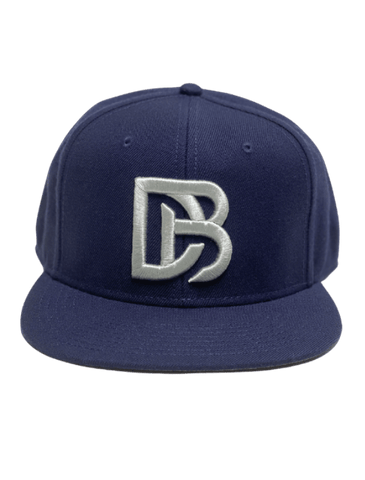 Navy DB Embroidered Flat Snapback