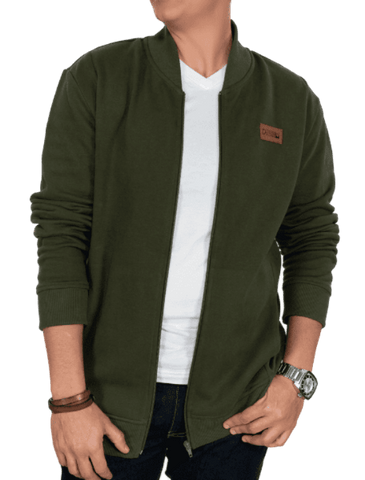 Olive Green Pique French Terry Bomber Jacket