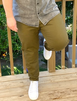 Dapper Boi Jeans SLIM Olive Stretch Chino Pants