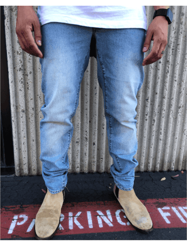 Slim-Straight Blue Fade Stretch Jeans