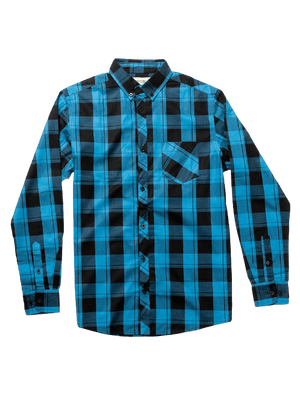 Dapper Boi Shirts Poplin Blue-Black Plaid Long Sleeve Button-Up