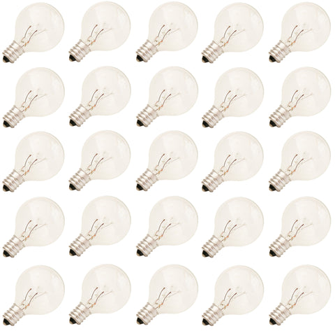 Rolay® 5 Watt Clear Globe G40 C7 E12 Candelabra Screw Base Warm Incandescent Light Bulbs, Pack of 25