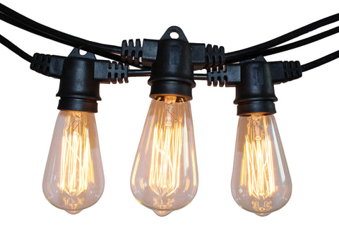 Rolay Waterproof Outdoor String Lights - 48 Feet Long with 15 E26 Heavy Duty Molded Rubber Light Sockets and 15*40W ST64 Vintage Edison Bulbs