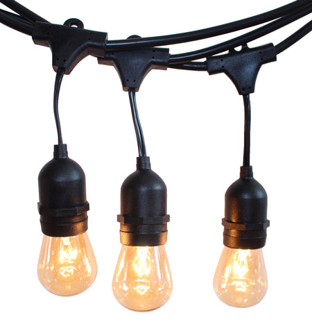 Rolay Waterproof Outdoor String Lights - 48 Feet Long with 15 E26 Heavy Duty Molded Rubber Light Sockets and 25*11W S14 Incanscent Light Bulbs