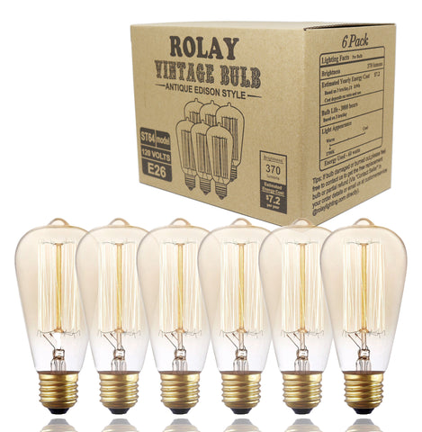6 Pack, Rolay ST64 Vintage Edison Light Bulb, 110~130 Volts, E26 Base, 370 Lumens