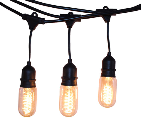 Rolay Waterproof Outdoor String Lights - 48 Feet Long with 15 E26 Heavy Duty Molded Rubber Light Sockets and 15*25W T45 Vintage Edison Bulbs