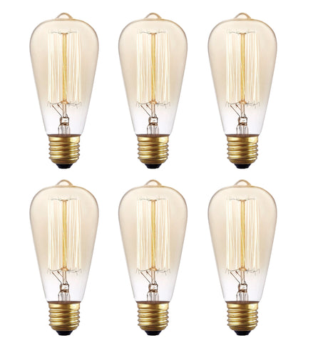 6 Pack, Rolay 40 Watt ST64 Vintage Edison Light Bulb, 110~130 Volts, E26 Base, 160 Lumens