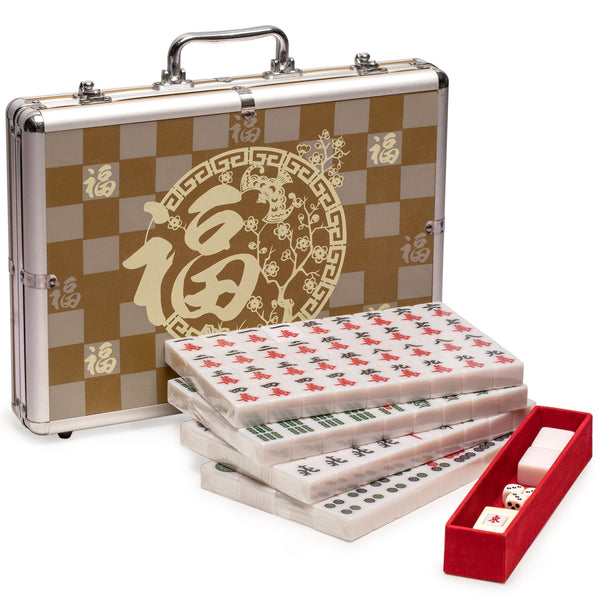 Champion-Size Chinese Mahjong Game Set - with 146 Large Tiles, and Aluminum Case