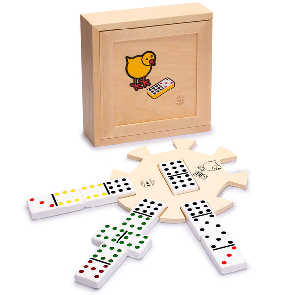 Chicken Foot Complete Game Set with Double 9 Dominoes, Wooden Case, Hub, and Scorepad