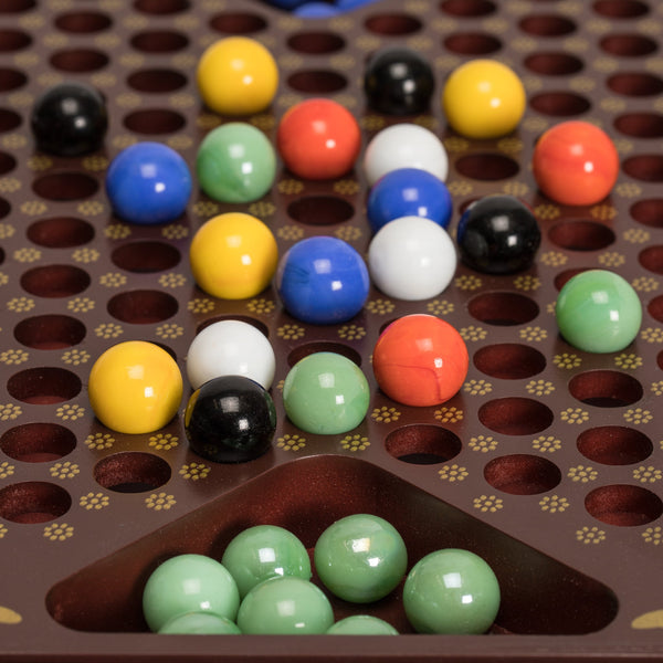 Chinese Checkers in a Leather Case - With 60 Colored Glass Marbles, 16mm-Yellow Mountain Imports-Yellow Mountain Imports