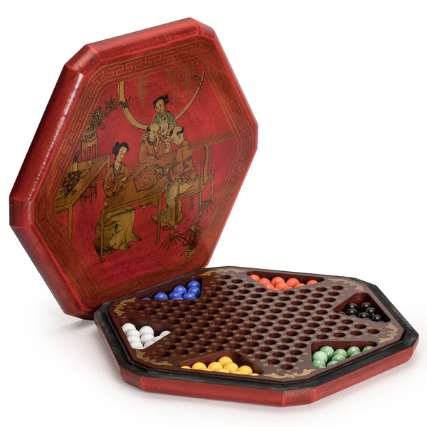 Chinese Checkers in a Leather Case - With 60 Colored Glass Marbles, 16mm