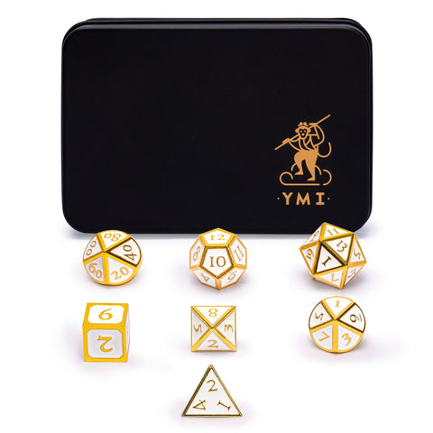 "Collector's 7 Gold on White Metal Dice Set with Storage Case, ""Calacatta"""