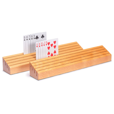 Extra-Wide Solid Beechwood Playing Card Holders - Set of 2