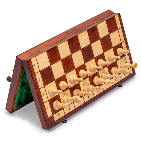Full Sized Magnetic Wooden Portable Chess Game Set - 15""