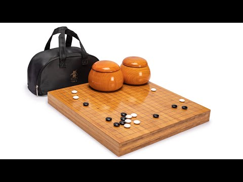Bamboo 2-Inch Reversible 19x19/13x13 Go Game Set Board with Double Convex Korean Hardened Glass Paduk Go Stones and Jujube Bowls