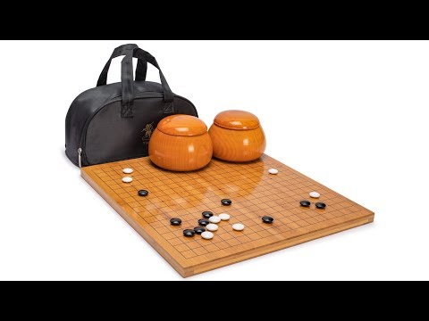 Bamboo 0.8-Inch Reversible 19x19 / 13x13 Go Game Set Board with Double Convex Korean Hardened Glass Paduk Go Stones and Jujube Bowls